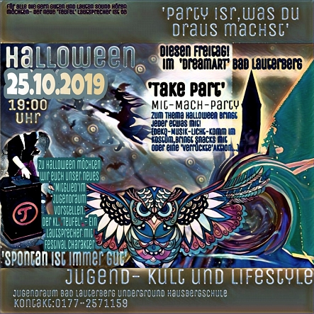 Flyer - Halloween Party 25.10.2019 im Jugendraum Bad Lauterberg © Jugendpflege Herzberg  und Bad Lauterberg